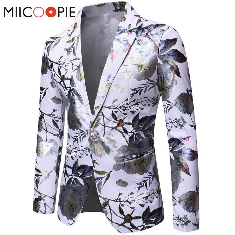 Colorful Bronzing Men Blazer Jacket Luxury Floral Printed Slim Single Breasted Blazers Men Suits Wedding Formal Blazer Masculino
