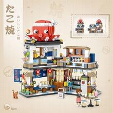 LOZ City Street View Blocks Takoyaki negozio di ghiaccio rasato bambini Juguetes negozio giapponese ragazze costruire mattoni giocattoli bambini regali di natale