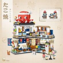 Loz cidade rua vista blocos takoyaki raspado loja de gelo crianças juguetes japonês loja meninas builidng tijolos brinquedos crianças presentes natal