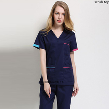 Women Fashion Scrub Tops V Neck Short Sleeve Work Uniforms Color-blocking Cotton Scrub Costume Hospital Workwear Vet Uniforms