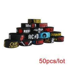 50 Stks/partij Rock Bands Siliconen Armbanden Brede Size Punk En Hard Rock Polsbandjes