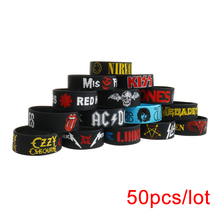 50PCS/Lot Rock Bands Silicone Bracelets Wide Size Punk and Hard Metal Wristbands