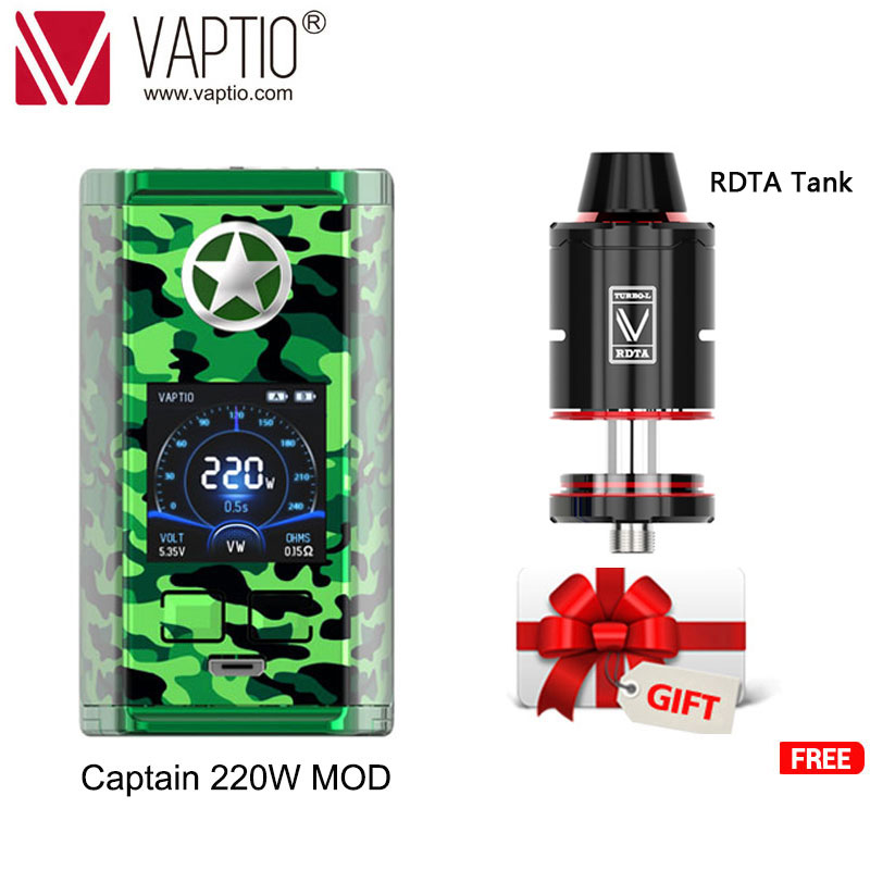 Free Gift RDTA Tank Original Vaptio Capt'N 220W TC Box MOD E-cigarette No 18650 Battery Vape Box Mod Compatible 510 Pin Atomzier