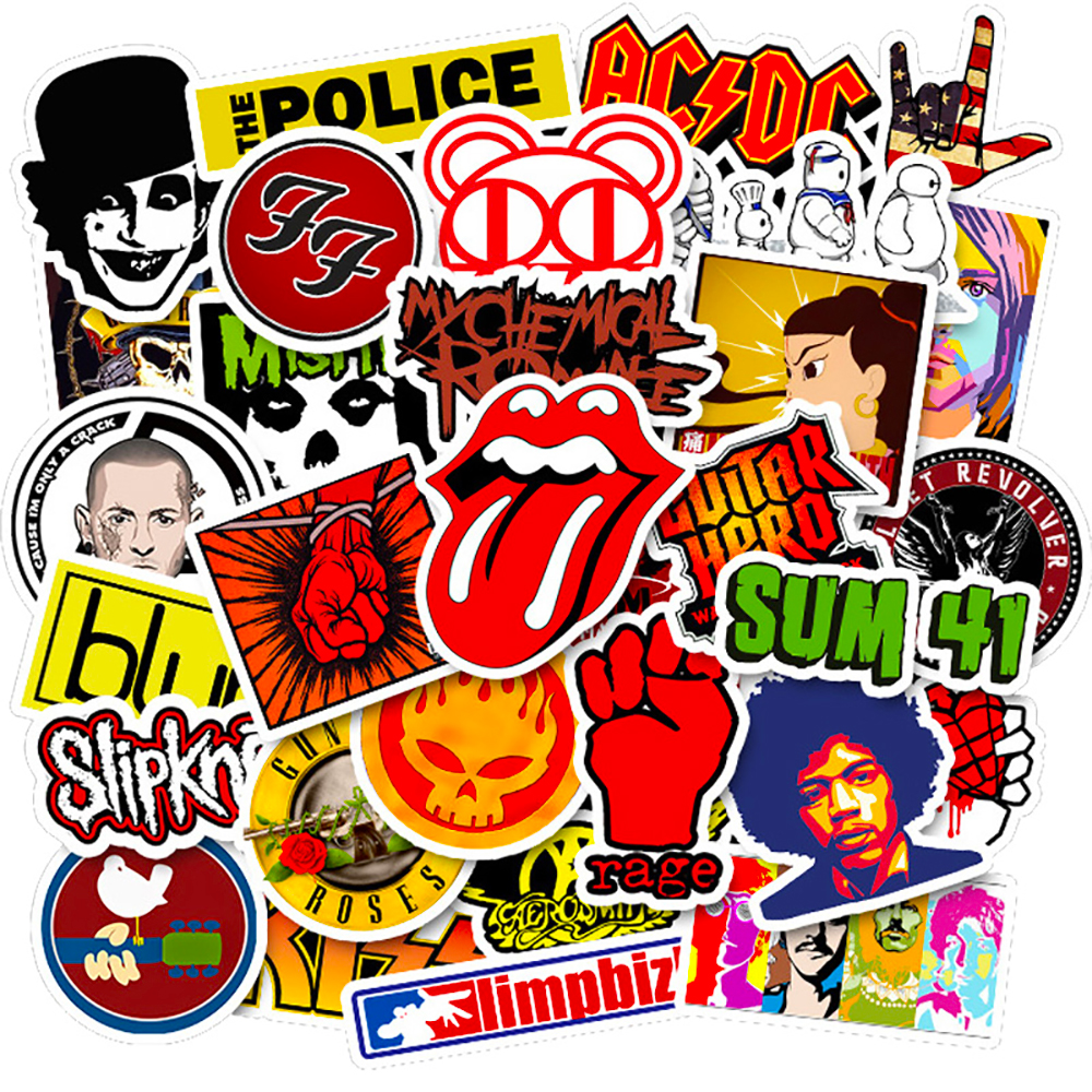 50PCS Rock Band Music Stickers Classic Toy Phone Travel Laptop Skateboard Guitar Luggage Graffiti Waterproof Cool Decal Stickers