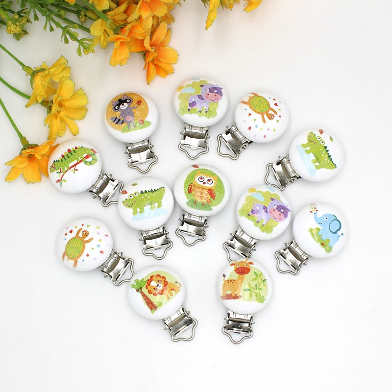 Random mix 5Pcs/Lot Baby Pacifier Clip cartoon animals Pattern Wooden With Metal Soother Holders For DIY Craft Drop Shopping