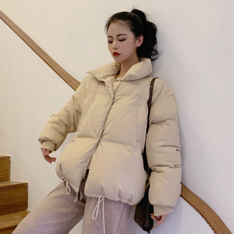 INS Ultra-Fire Red Down Coat Female Winter New Style Korean-style Versatile Loose-Fit Stand Collar Thick Cotton Overcoat Tops