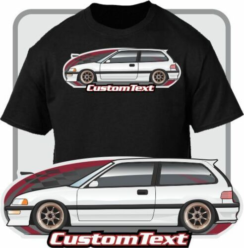 Custom Art T-Shirt 1988 89 90 1991 Hatch Civic Si EF Not Affiliated With