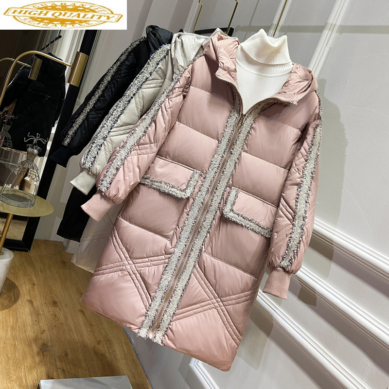 2020 Duck Down Jacket Women Hooded Long Puffer Down Coat Winter Autumn Korean Jackets Piumino Donna KTL-2365 KJ3725