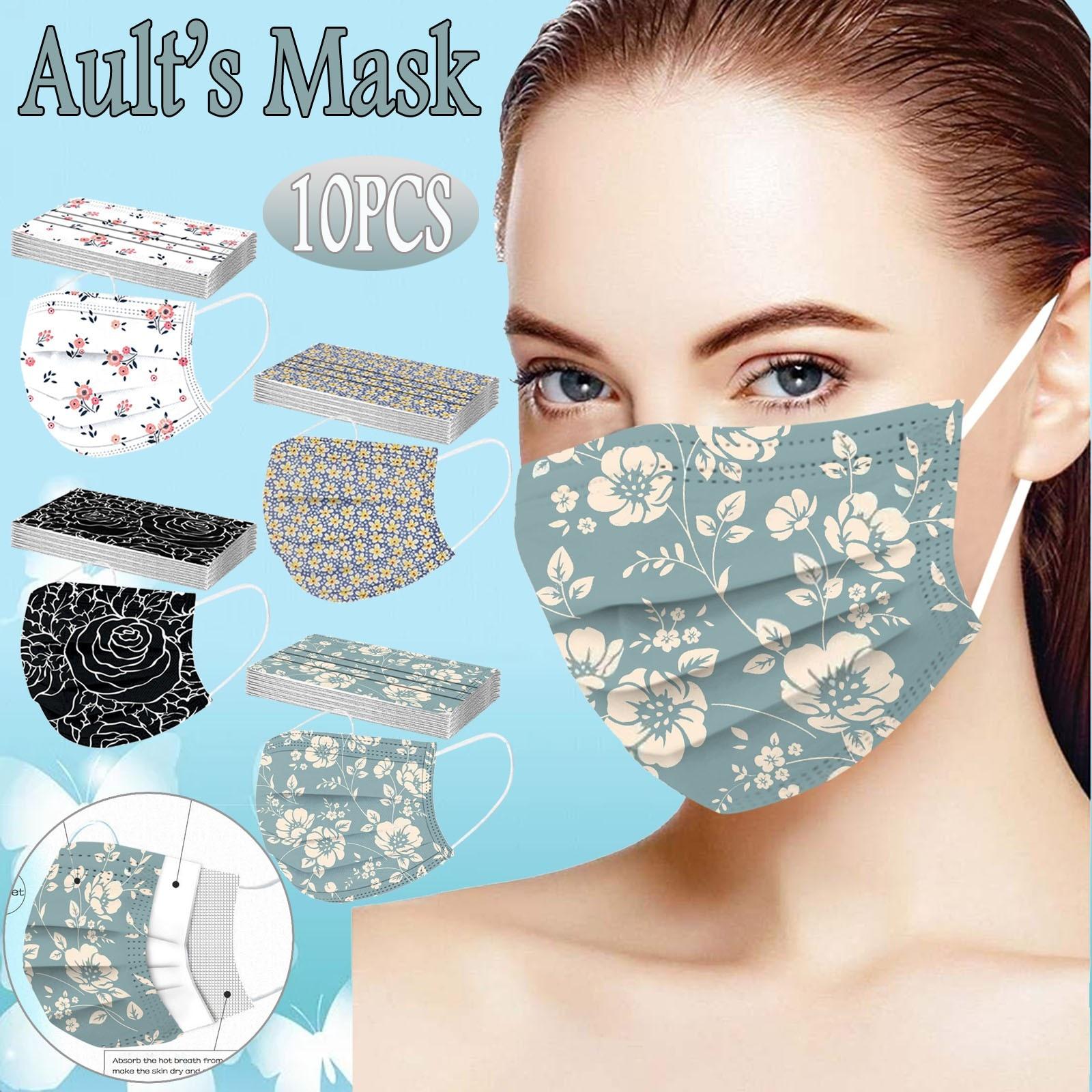 10 шт. с цветочным принтом маска дышащая одноразовая маска для лица 3ply петли уха для взрослых рот маски Крышку Рот Маски для лица