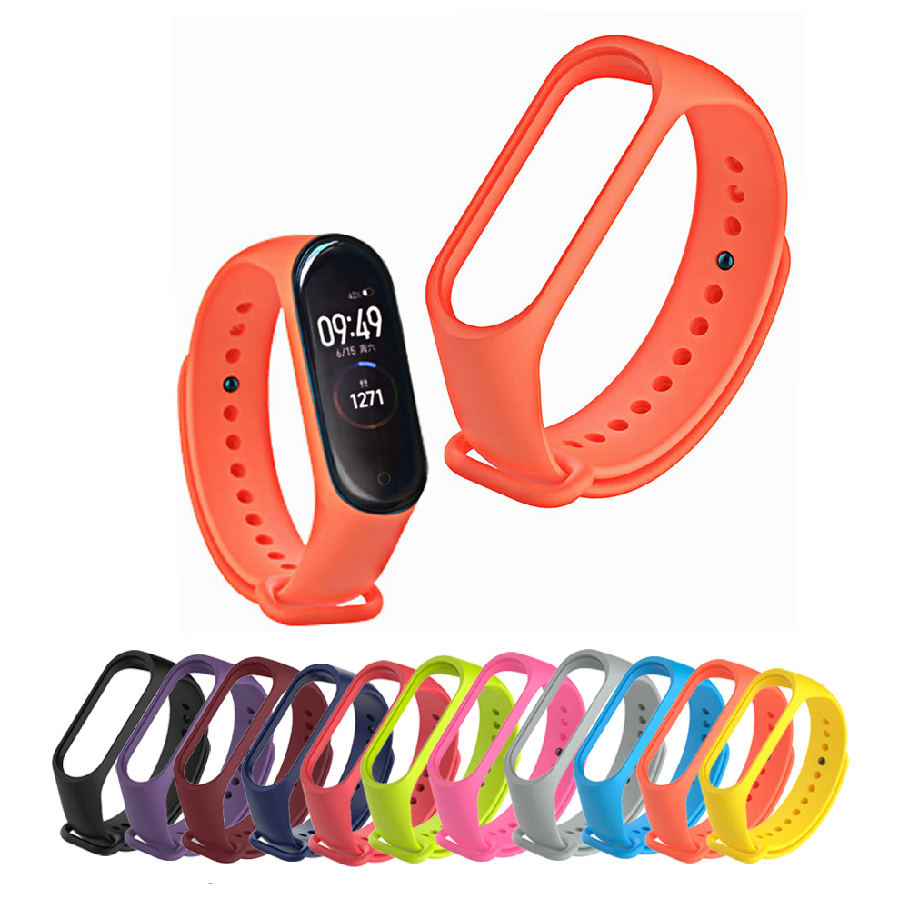 Original Xiao/mi Mi Band 4 Wrist Strap TPU Black Orange Pink Blue Wine-red Bracelet For Xiaomi Miband 3 4 NFC Smart Wristband
