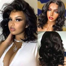 Wigirl onda do corpo curto bob perucas onda do oceano frente laço perucas de cabelo humano brasileiro perucas frontal do laço 4x4 fechamento do laço perucas remy