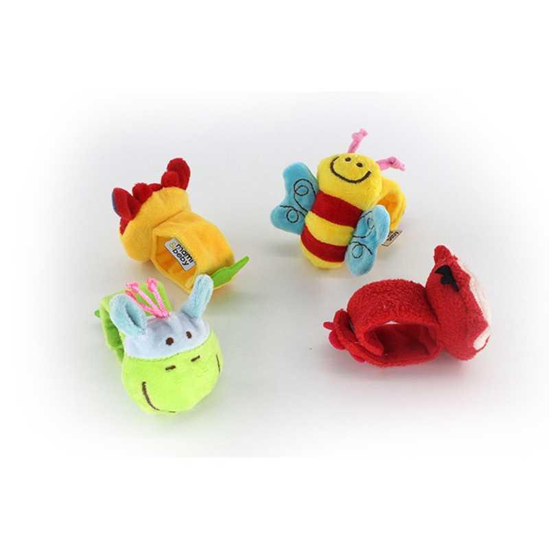 Zabawki dla niemowląt 0-12 miesięcy grzechotka dla dzieci dzieci zabawkowy wózek dziecięce łóżko owad zwierząt pluszowy nadgarstek grzechotka zabawka dla dzieci dla noworodka prezent 1 sztuk