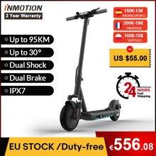(€200-€18 code : FRMAY018 ) INMOTION – trottinette électrique L9 pliable, double frein, style Freestyle, autonomie maximale de 95km, Skateboard électrique pour adultes