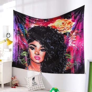 아프리카 계 미국인 흑인 소녀 다채로운 인쇄 벽 매달려 태피스트리 인도 폴리 에스터 피크닉 bedsheet 아프리카 벽 예술