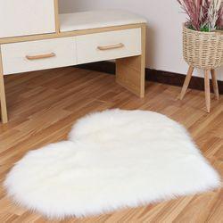 Tapis Shaggy amour coeur tapis fourrure artificielle peau de mouton poilu tapis chambre salon décor doux Faux Shaggy zone tapis