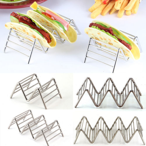 Hot Wave Shape Stainless Steel Taco Holders Mexican Food Rack 1-4 Hard Shells Hot Hot Dog Holder Stand Taco Rack Display