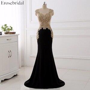 Image 1 - Erosebridal שחור שמלת ערב ארוך 2020 זהב תחרה סקסי לראות דרך חזרה Mermiad נשף שמלה ארוך פורמליות ערב שמלת ארוך רכבת
