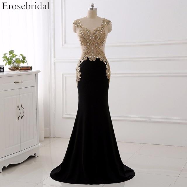 Erosebridal שחור שמלת ערב ארוך 2020 זהב תחרה סקסי לראות דרך חזרה Mermiad נשף שמלה ארוך פורמליות ערב שמלת ארוך רכבת