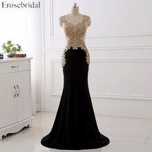 Erosebridal vestido de noche negro largo 2020 oro encaje Sexy ver a través de la espalda Mermiad Prom vestido largo Formal de noche de tren largo