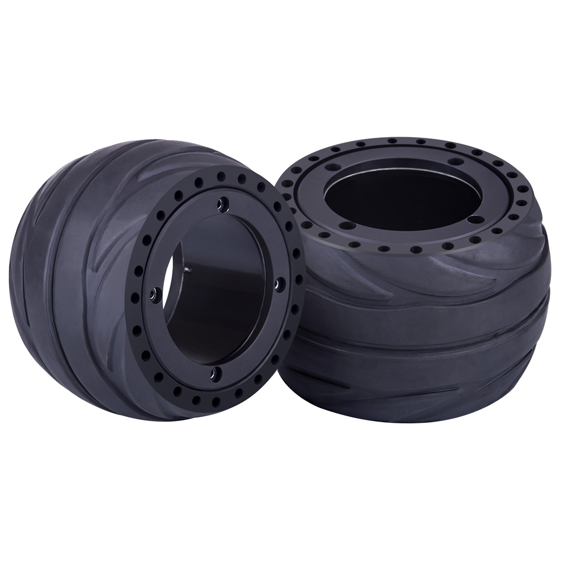 2Pcs 105 X 66mm Hub Motor Rubber Tire Wheel