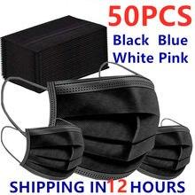 50 pçs máscara descartável nonwove 3 camada filtro máscara boca máscara protetora filtro seguro respirável preto máscara protetora transporte rápido