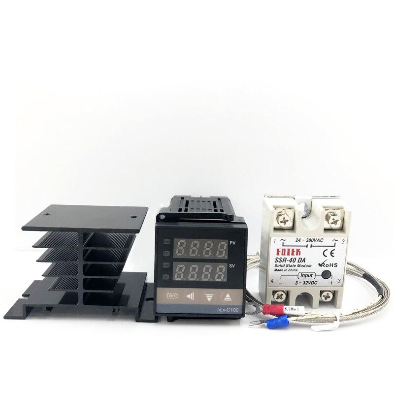 REX-C100 Thermostat numérique PID régulateur de température SSR sortie + Max.40A SSR relais + K Thermocouple sonde dissipateur de chaleur 0-1300C