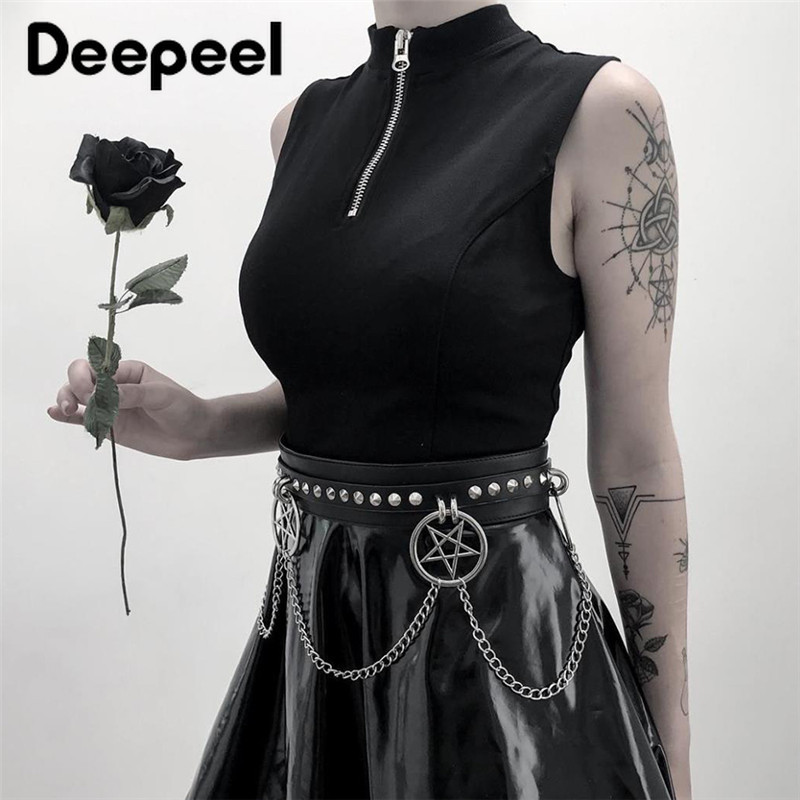 Deepeel 1pc 5*96cm Women PU Gothic Black Cummerbunds High Waist Rivet Decoration Wide Corset Girdle Twotwinstyle With DressCB654