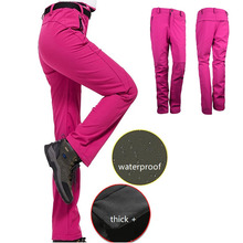 Women Winter Outdoor Hiking Pants Spring Waterproof Windproof Thermal Fleece Softshell Camping Skiing Camping Climbing Trousers new outdoor pants men women camping hiking mujer softshell pantalon hombre climbing camouflage thermal trekking hunting trousers