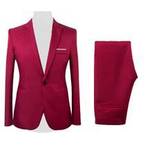 50% Hot Sales 2Pcs/Set Men Formal Business Party Solid Color Long Sleeve Blazer Suit Pants