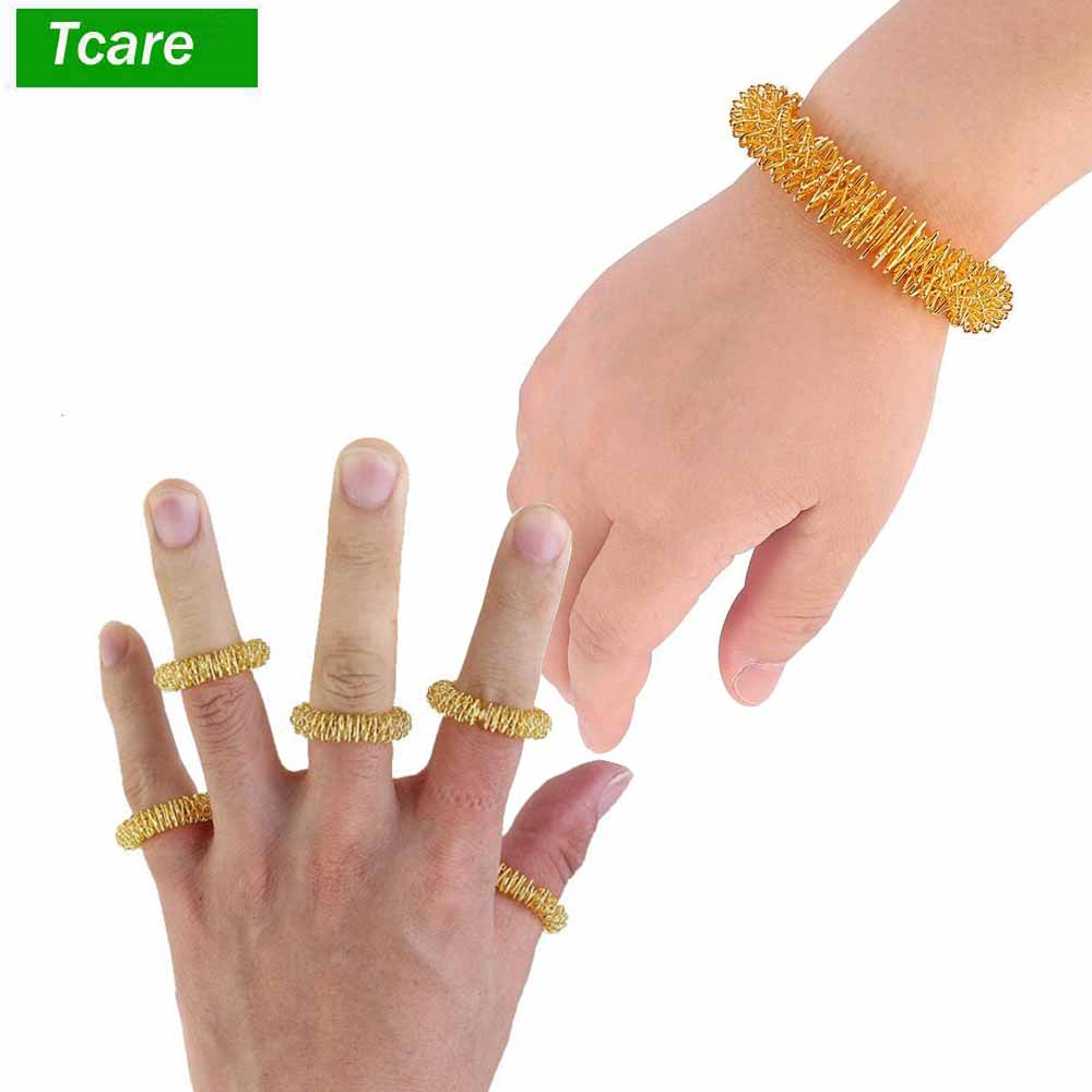 5Pcs Acupressure Massage Rings+ 2Pcs Wrist Massager Rings Acupressure Ring Set Medicine Fidget Finger Ring For Kids Teens Adults