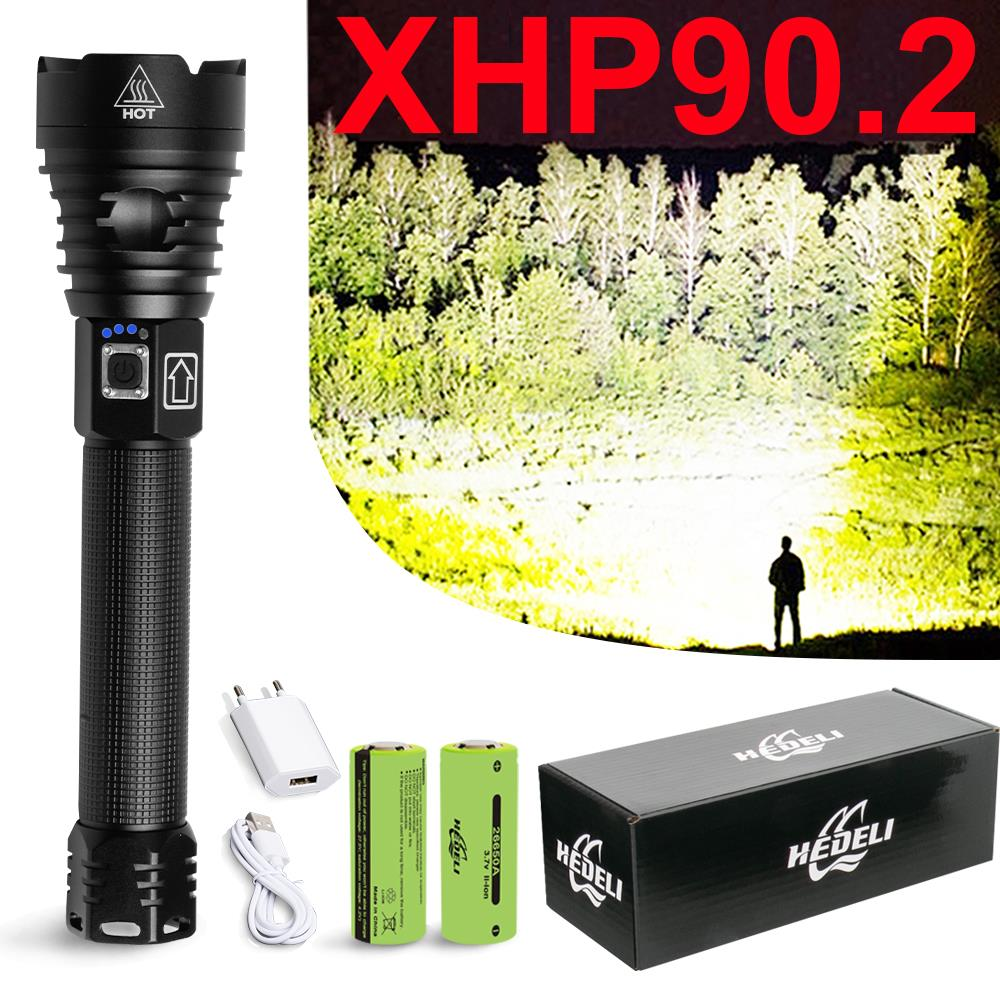 Super Bright Xhp90.2 Most Powerful Led Flashlight Torch Usb Rechargeable Tactical Flashlights Cree Xhp50 Mini Flash Light 18650