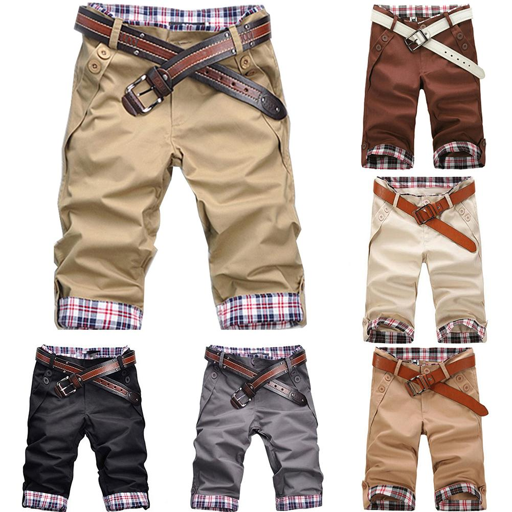 Summer Beach Casual Men Plaid Patchwork Turn Up Cuff Shorts Fifth Pants Trousers  Masculina Fashion Beach Joggers Track