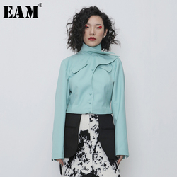 [EAM]  Women Green Split Joint Short Blazer New Stand Collar Long Sleeve Loose Fit  Jacket Fashion Tide Spring Autumn 2020 1R107