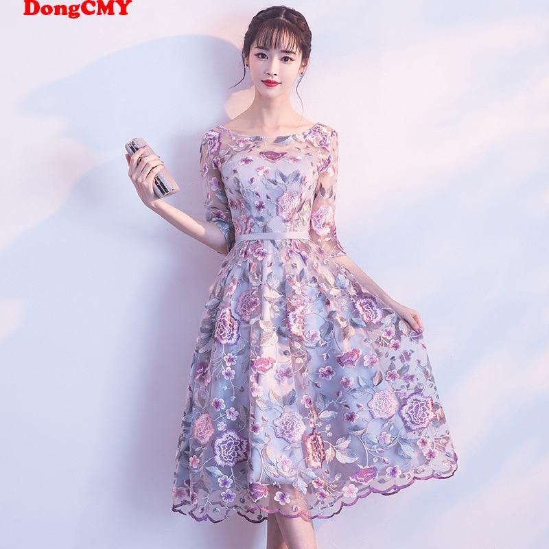 DongCMY New Short Formal Dresses Flowers Vestdios Bride Elegant Wedding Party Dress