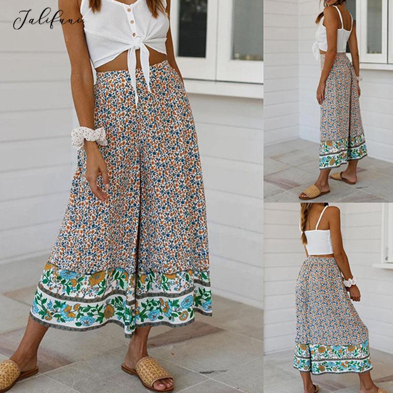 Casual Boho Floral Print Long Pants Women Summer Hot Sale Loose Wide Leg Pants 2020 New Viantge Ladies Straight Pants Bottoms