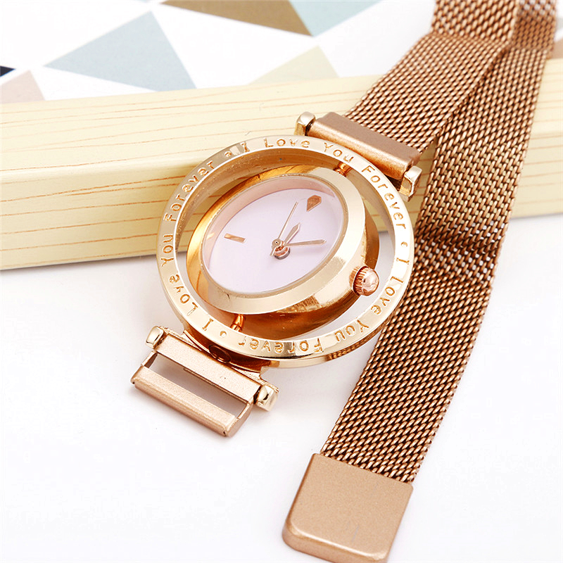 Luxury Women Watch Mesh Magnetic Buckle Personality Creative Rotating Dial Quartz Ladies Dress Gift Business Casual Wrist Watch