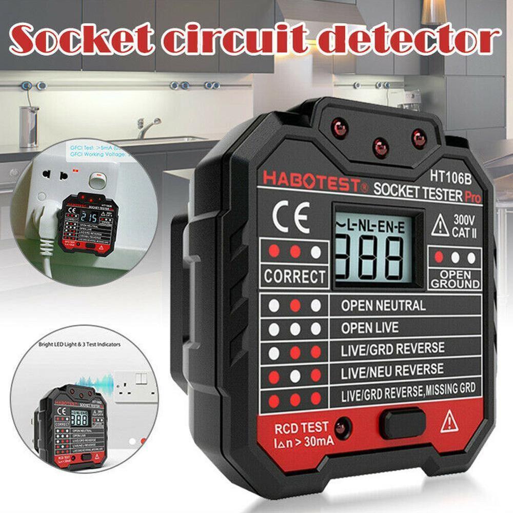 Electric Socket Tester EU / US / UK Plug HABOTEST Neutral Earth Wire Circuit Polarity Wall Plug Breaker Electric Leakage Test