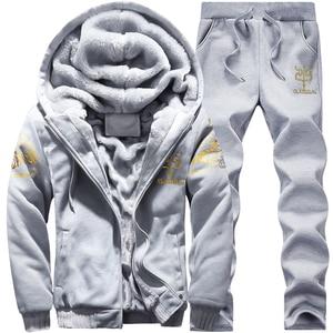 Image 3 - Hoodie Sweatshirt Men/Women 2020 Coat Fleece Hoodies Sweatshirts+Sweatpants Suit Autumn Winter Warm Logo Printed Hooded Pullover