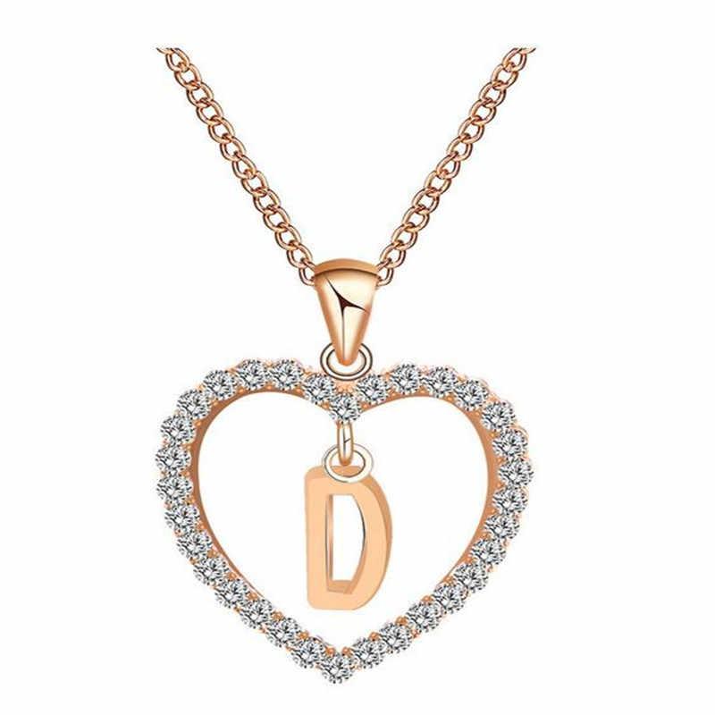 Pickyz cor do ouro zircônia cúbica amor coração pingente de cristal letra nome gargantilha colar feminino 26 letras maiúsculas charme jóias