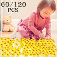 60 piezas/120 piezas Mini pato de goma amarillo juguete de baño bebé ducha Juguetes De Agua pura Natural lindo pato de goma juguetes para bebés