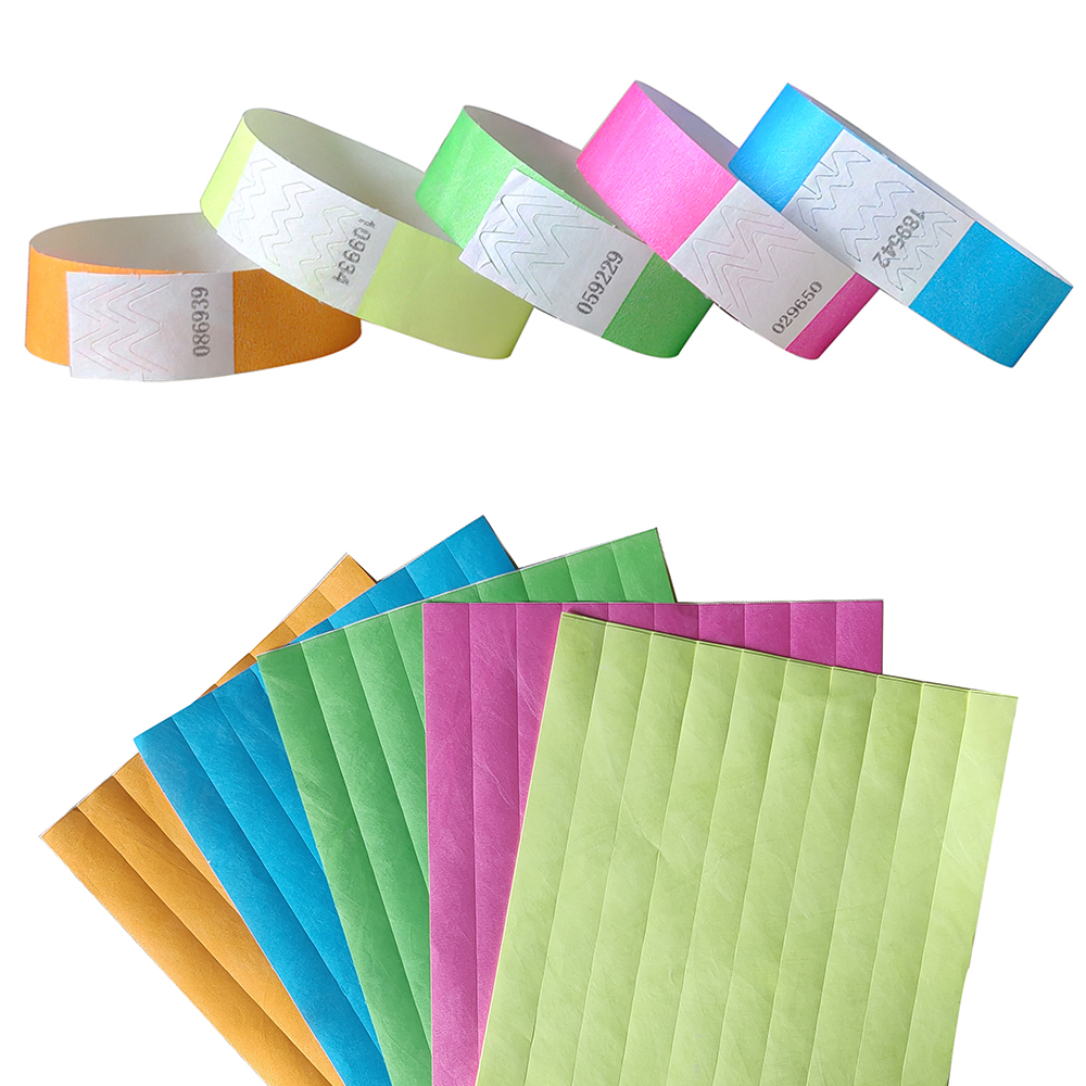 Neon Colors 3/4 inch Tyvek Wristbands with Numbers, Colorful ID Wristbands for Parties Events 500 pieces