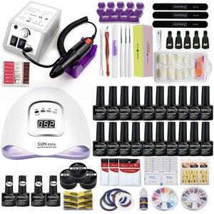 Image 1 - Jel tırnak seti 80W UV LED tırnak lambası isteğe bağlı 20/10 renk jel lehçe taban pardösü uzatma jel elektrikli tırnak matkap kiti