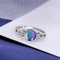 Vintage Retro Change Mood Ring Round Emotion Feeling Changeable Ring Temperature Control Color Rings For Women Female