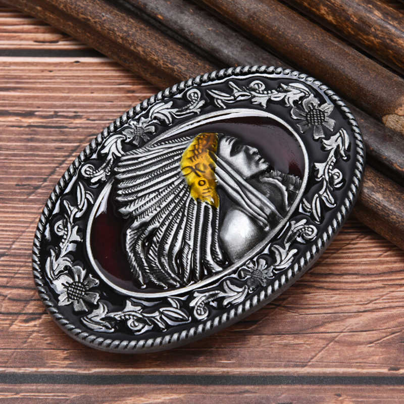 "Indian belt buckle Metal Men's Belt Buckle Western Cowboy Belts Buckle Fit 1.5"" Wide Belt"