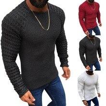 HEFLASHOR Men Sexy Pleated Sweater 2019 Autumn Solid Pullove