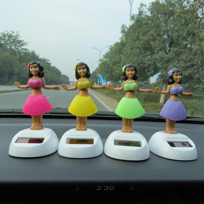 Solar Powered Dancing Girl Swinging Bobble Toy Gift For Car Decoration Novelty Happy Dancing Solar Girls Toys For Children