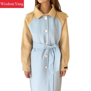 Winter Women Coat Hooded Cashmere Sheep Wool Coats Warm Elegant Camel Blue Loose Trench Long Woolen Oversized Clothes Overcoat