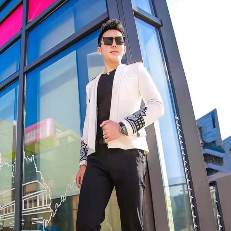 Mode Herren Weiß Blazer Herbst Neue Zweireiher Epaulet Stickerei Slim Fit Casual Blazer Jacke Männer Trauzeuge Anzug Jacke - 5
