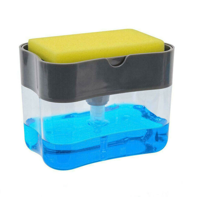 2-in-1 Manual Press Liquid Soap Dispenser With Washing Sponge Soap Dispenser Soap Pump Sponge Caddy New Creative Kitchen