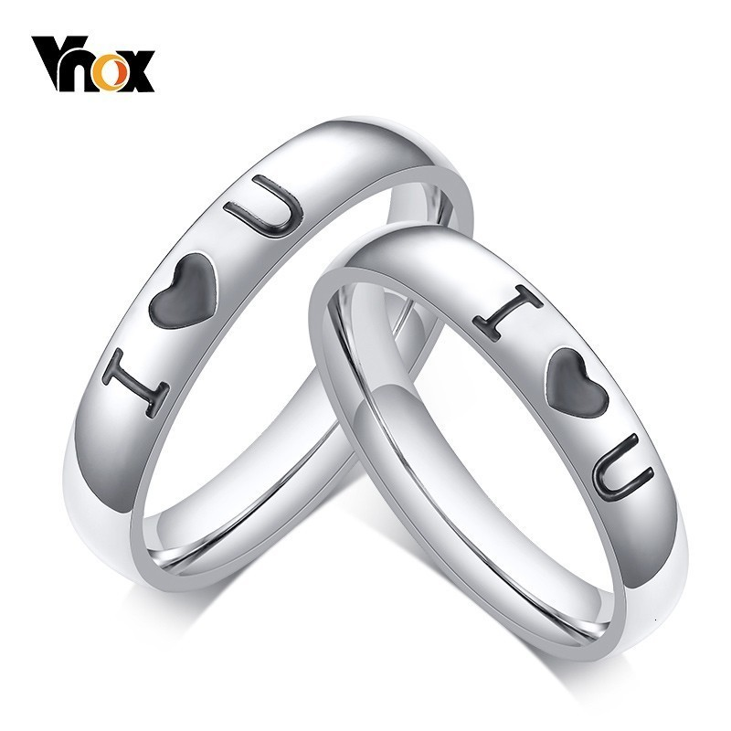 Vnox I Love You Wedding Bands Rings For Woman Men Classic Stainless Steel Anel Alliance Anniversary Accessory